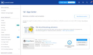 1und1 Webhosting 1und1-webhosting-test-2018-app-center-wordpress-install-fertig
