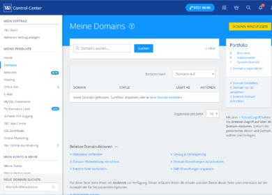 1und1 Webhosting 1und1-webhosting-test-2018-control-center-domains