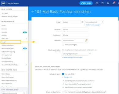 1und1 Webhosting 1und1-webhosting-test-2018-control-center-e-mail-erstellen