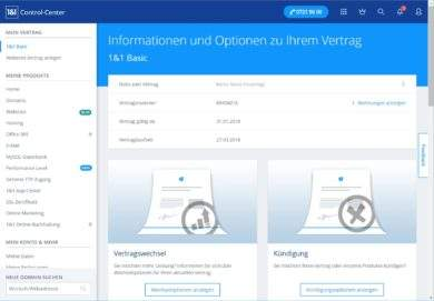 1und1 Webhosting 1und1-webhosting-test-2018-control-center-start