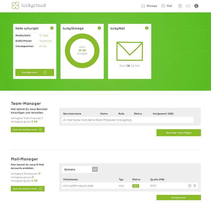 luckycloud-sicherer-deutscher-cloud-speicher-im-test-dashboard