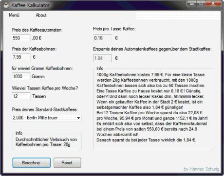 Kaffee Kalkulator Hannes Schurig 460x362 Kaffee Kalkulator   lohnt sich der Kauf eines Kaffeevollautomaten? | C#