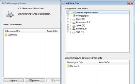 Das Bild zeigt die Einstellungen der Indizierungsoptionen in denen nur das Startmenü als Indizierungsort ausgewählt wurde um die Auslastung durch die Windows Suche zu minimieren