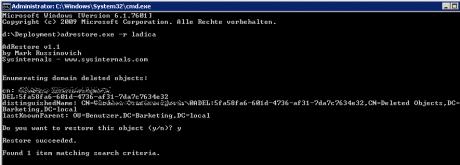 """Das Bild zeigt die Kommandozeilenausgabe des Sysinternals Tools adrestore.exe, welches recht einfach zu bedienen ist. Mit """"adrestore.exe -r [name]"""" wird ein gelöschtes Benutzerobjekt gefunden und einfach wiederhergestellt."""