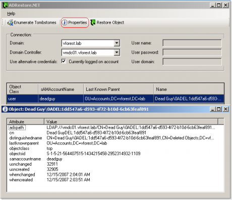 Das Bild zeigt eine grafische Oberfläche des Kommandozeilentools ADRestore mit vielen Extras und Informationen zu den Objekten