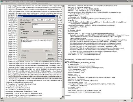 Das Bild zeigt das unübersichtliche Windows Server Tool ldp.exe, mit dem (angeblich laut Microsoft Hilfe) gelöschte AD-Benutzer wiederhergestellt werden können