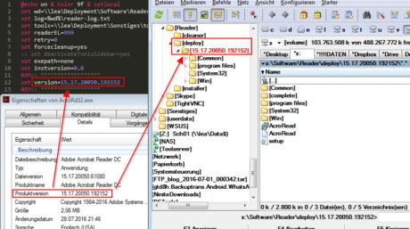 Das Bild zeigt die Dateieigenschaften von AcroRd32.exe und die Verweise auf das Skript und das Deploymentlaufwerk