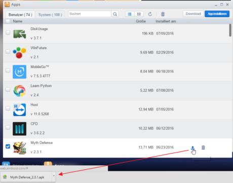 Das Bild zeigt, wie über die Apps-Funktionen APKs der installierten Apps heruntergeladen werden können