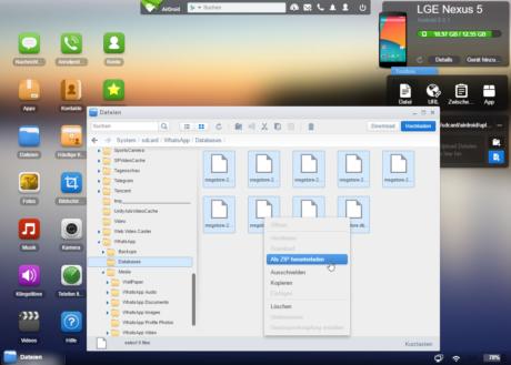 Das Bild zeigt den Dateimanager von AirDroid und die Möglichkeit, mehrere Dateien als ZIP herunterzuladen