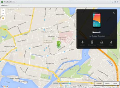 Das Bild zeigt die Telefon-Orten-Funktion von AirDroid