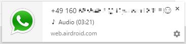 Das Bild zeigt eine Whatsapp Benachrichtigung am PC