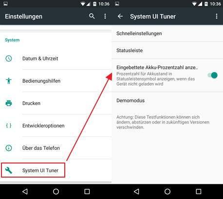 """Das Bild zeigt den neuen Einstellungsmenüpunkt """"System UI Tuner"""", der freigeschaltet wurde"""
