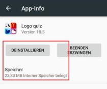 Das Bild zeigt den Android Dialog, mit dem eine App deinstalliert werden kann