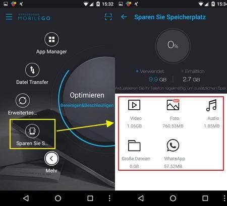 Das Bild zeigt die App MobileGo mit der Funktion, die Speicherplatz-Fresser aufzeigt