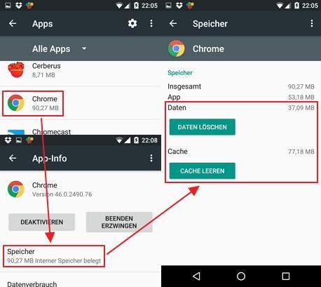 Das Bild zeigt den Android-Dialog einer App, über den System-Daten und Caches gelöscht werden können