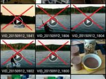 Das Bild zeigt eine Android Galerie mit Videos, die gelöscht werden können