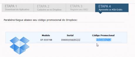 dropbox 2gb mehr samsung code1 460x194 Dropbox verschenkt erneut Speicher: 2GB als brasilianischer Samsungbesitzer... oder mit Trick