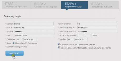 dropbox 2gb mehr samsung formular 460x234 Dropbox verschenkt erneut Speicher: 2GB als brasilianischer Samsungbesitzer... oder mit Trick