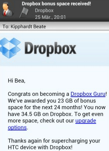 dropbox htc 23gb space upgrade 23GB mehr Dropbox Space mit modifizierter Android App