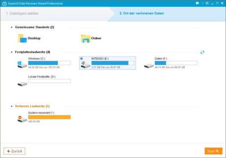 Das Bild zeigt das EaseUS Data Recovery Datenwiederherstellungs-Tool - zu sehen ist der Dialog, in dem das Wiederherstellungsmedium ausgewählt wird.