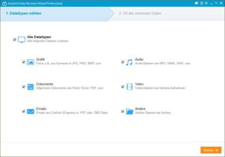 Das Bild zeigt das EaseUS Data Recovery Datenwiederherstellungs-Tool - zu sehen ist der Startbildschirm, in dem die wiederherzustellenden Datentypen ausgewählt werden.