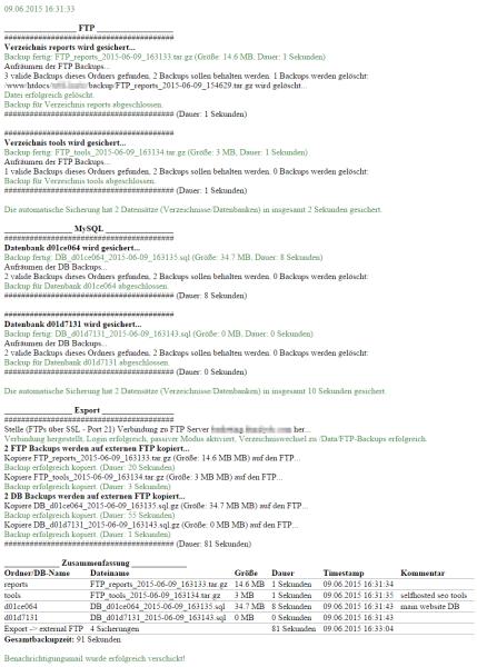 Das Bild zeigt die Ausgaben des Backup Skripts und die versendete E-Mail Benachrichtigung