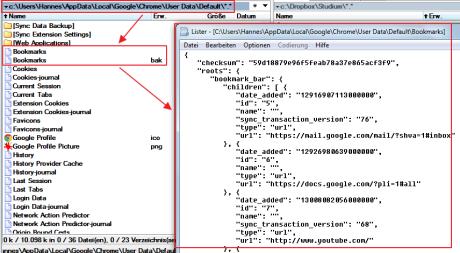 """Das Bild zeigt den Speicherort der 2 Dateien """"bookmarks"""" und """"bookmarks.bak"""": c:\Users\Hannes\AppData\Local\Google\Chrome\User Data\Default\"""