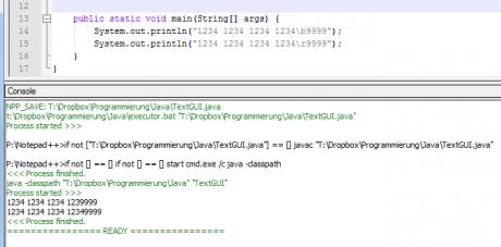 notepad++ java kompilieren internal console nppexec 460x227 Java #0   Konsolenanwendungen mit Notepad++ schreiben und testen   internal vs external Console