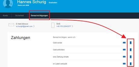 """Das Bild zeigt die neuen PayPal Einstellungen und den Reiter """"Benachrichtungen"""", in dem die SMS Benachrichtungsoptionen hervorgehoben wurden."""