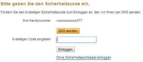 Das Bild zeigt den erweiterten PayPal Login dank eingerichteter Sicherheitsschlüssel (Mein Profil -> Einstellungen -> Sicherheitsschlüssel). Es wird nach einem Code gefragt, der per SMS an die angegebene Handynummer verschickt wurde.