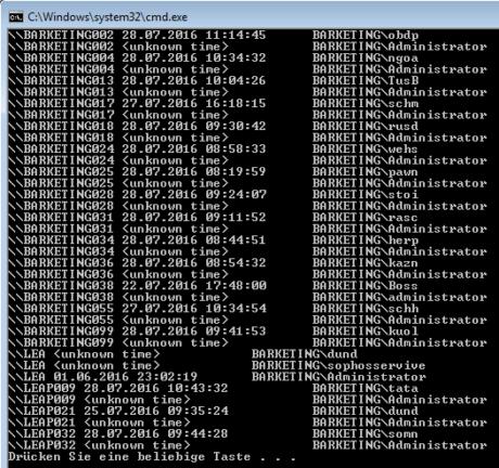 Das Bild zeigt das gekürzte PsLoggedOn-Script, welches zu allen eingeschalteten Domänencomputern die eingeloggten Nutzer anzeigt.