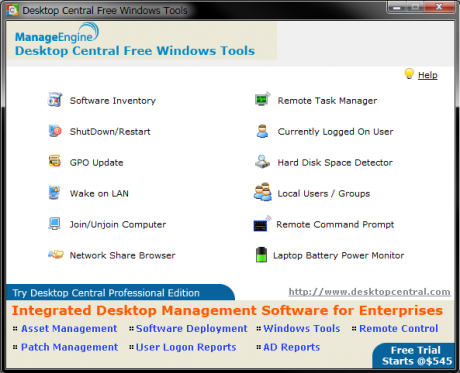remote administration desktop central start 460x373 Remote Administration mit Desktop Central   Free Windows Admin Tools 2