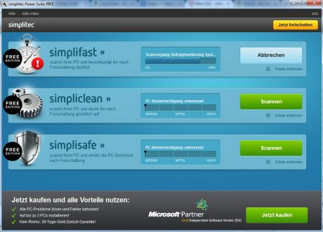 simplitec pc helper optimizer start 460x331 Test: simplitec Power Suite   PC aufräumen, optimieren und Probleme lösen