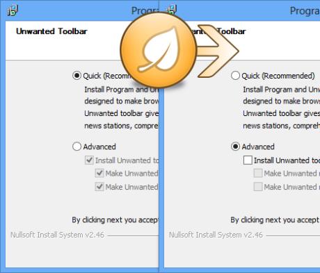 Das Bild zeigt einen Installationsdialog vorher (mit aktivierten Bloatware-Optionen) und nachher (Optionen dank Unchecky deaktiviert)
