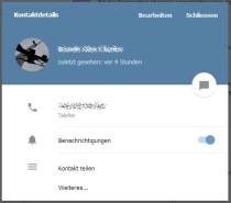 Das Bild zeigt ein Telegram Userprofil mit Informationen und Einstellungen
