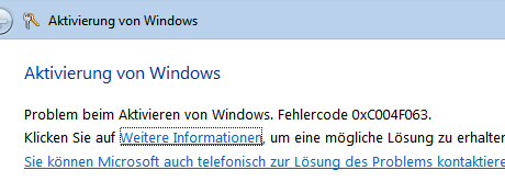 windows activation error code 0xc004f063 Windows Aktivierung: Fehler 0xC004F063