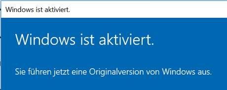 Dieses Bild zeigt die erfolgreiche Aktivierung des Windows 10 Professional Produkt Keys