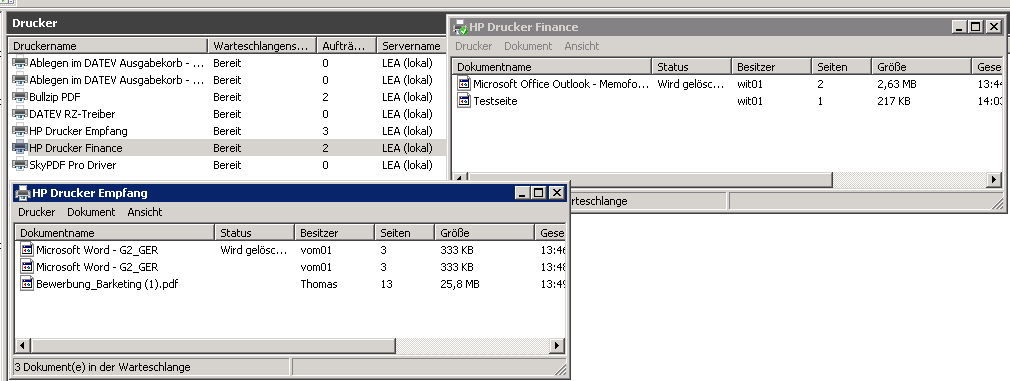 Netzwerkdrucker Probleme - Druckaufträge hängen sich und den Drucker ...