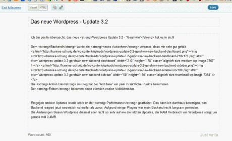 wordpress update 3.2 gershwin new backend fullscreen editor 460x281 Das neue Wordpress   Update 3.2 Gershwin